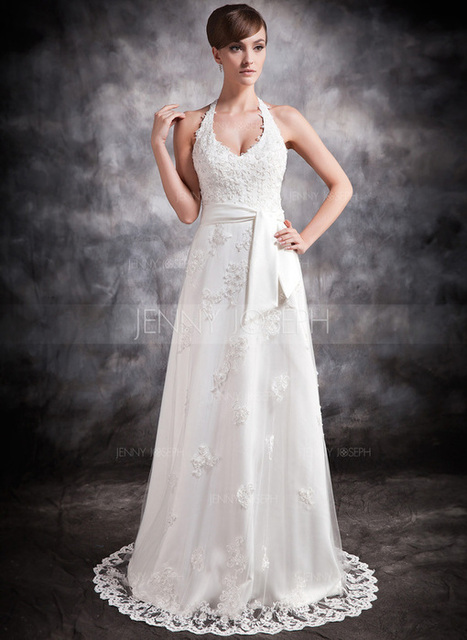 [€ 155.81] Forme Princesse Dos nu Traîne moyenne Satiné Tulle Robe de mariée avec Dentelle Emperler (002016896)   jenjenhouse   Scoop.it