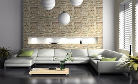 Divine Modern Living Room with Natural Stone Wallpaper and Three Lantern Lighting Interior | Simple Decorating Ideas For Home | Scoop.it