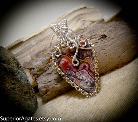 Red Mexican Crazy Lace Agate Crystal & Silver Wire Wrapped Gemstone Pendant | Wire Wrapped Stone | Scoop.it