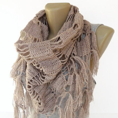 2014 New design scarf ,shawl ,crocheted women neckwarmer , taupe ,cowl neck ,holiday fashion accessories ,gift ideas , soft color | scarf | Scoop.it