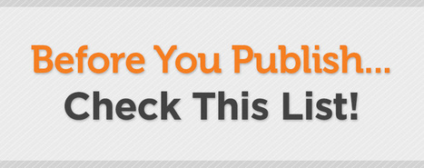 VIEO Checklist: Before You Publish Your Blog Posts | Online Ministry Updates | Scoop.it