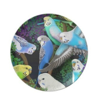 Budgerigars in Ferns Plate from Zazzle.com | Dinner Plates | Scoop.it