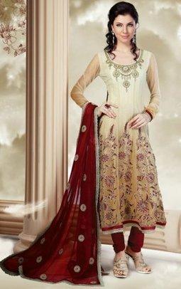 Net Indian Churidar Salwar Kameez Cream PR40689012 | Designer Salwar Kameez | Party Wear Salwar Kameez | Bollywood Churidar Salwar Kameez | Scoop.it