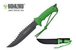 "13"" Biohazard Zombie Killer Hunting Tactical Knife Serrated Blade w/ Sheath NIB 