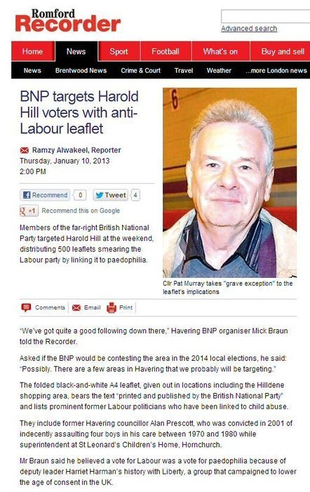 Simon Darby: Labour Paedophiles Rattled By BNP Leaflet in Romford | The Indigenous Uprising of the British Isles | Scoop.it