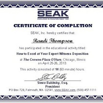 "Horse Expert Witness-Equestrian Legal Consultant - ""Certificates from the SEAK National Expert Witness Conference 