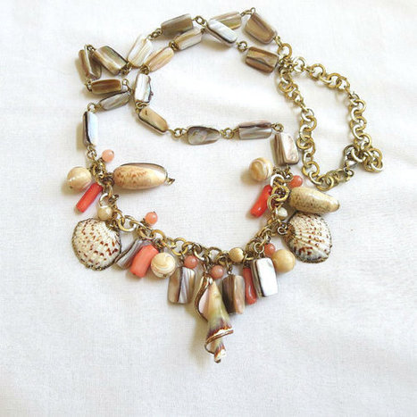 Vintage Gold Tone Abalone or Mother of Pearl & Faux Coral Beads with Gold Tone Edged Shells Charm Necklace   Favorite Vintage Jewelry   Scoop.it
