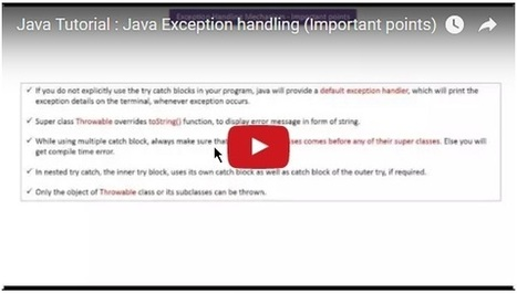 Java Tutorial : Java Exception handling (Important points) | JAVA | Scoop.it