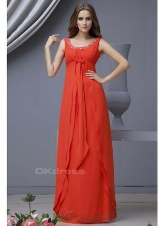 Elegant Red Sheath/Column Scoop Long Chiffon Bridesmaid Dresses With Beading - by OKDress UK | Trends for prom 2014 | Scoop.it