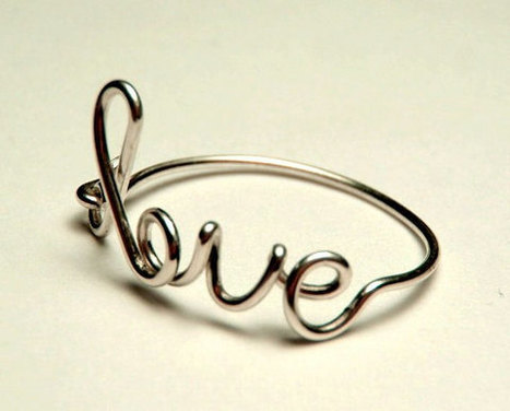 sterling silver love ring-  love script ring- Special price sterling silver wire 925- keoops8 shop | Sterling silver wire rings | Scoop.it