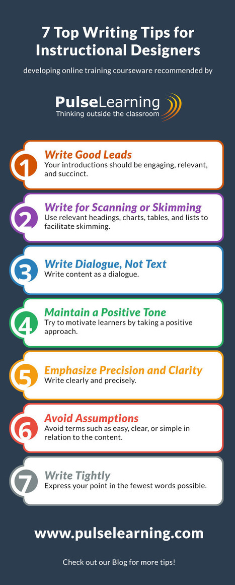 7 Top Writing Tips for Instructional Designers Infographic Blog | PulseLearning | Instructional Design | Scoop.it