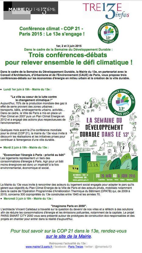[Paris XIIIè] Développement Durable : Trois conférences-débats pour relever ENSEMBLE le défi climatique ! | actions de concertation citoyenne | Scoop.it