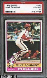 "1976 Topps 480 Mike Schmidt Phillies HOF Centered PSA 10 "" Razor Sharp "" | eBay | The Hottest PSA 10 Sports Cards on eBay | Scoop.it"
