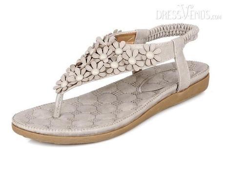 Stylish Gray PU With Flower Flip Flops Slipper | life | Scoop.it