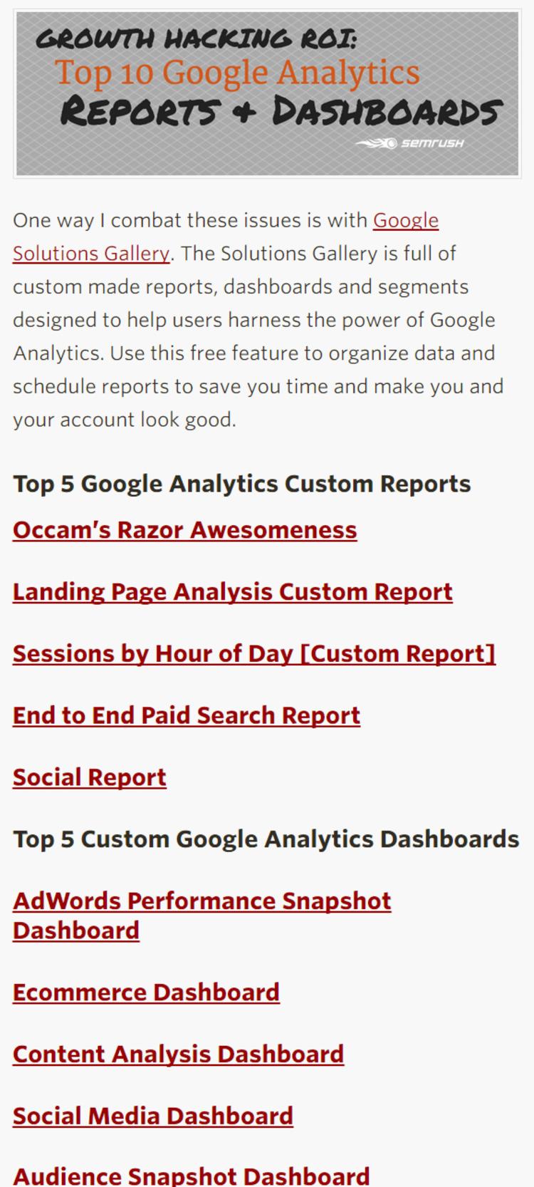 Growth Hacking ROI: Top 10 Google Analytics Reports - SEMrush   The Marketing Technology Alert   Scoop.it
