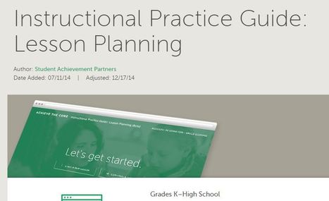 Achievethecore.org : Instructional Practice Guide: Lesson Planning | K-12 Research, Resources and Professional Learning Materials for English Language Arts | Scoop.it