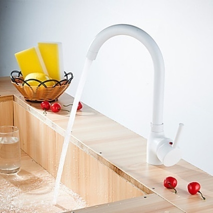 Nickel Polished Ceramic Valve Widespread Single Handle One Hole Kitchen Faucet-- Faucetsmall.com | Bathroom Sink Faucets & Kitchen Faucets | Scoop.it