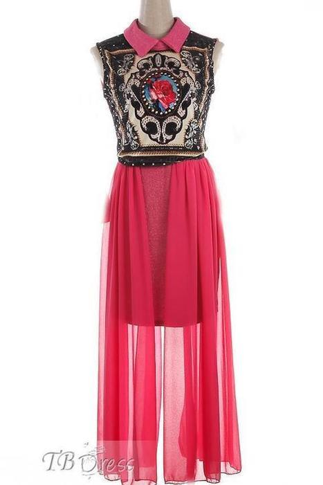 $ 50.39 TBdress Design Trendy Rose Lapel Sleeveless Embroidery Maxi Dress | Gentleman | Scoop.it