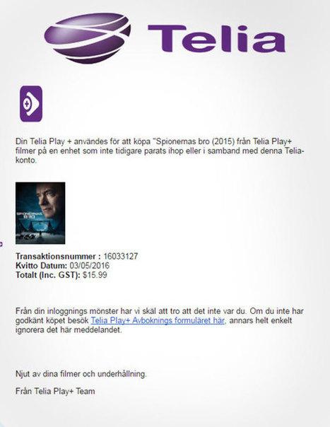 Se upp! Mejlbedragare skickar falska Telia-kvitton | DIGITALAKUTEN FÖR SENIOR | Scoop.it