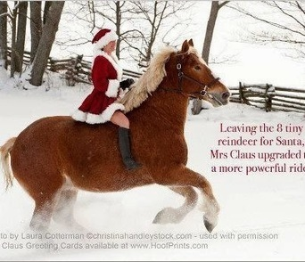 """Now we know what Ms. Santa Claus does...."" Did you think she just stays home waiting for him? 