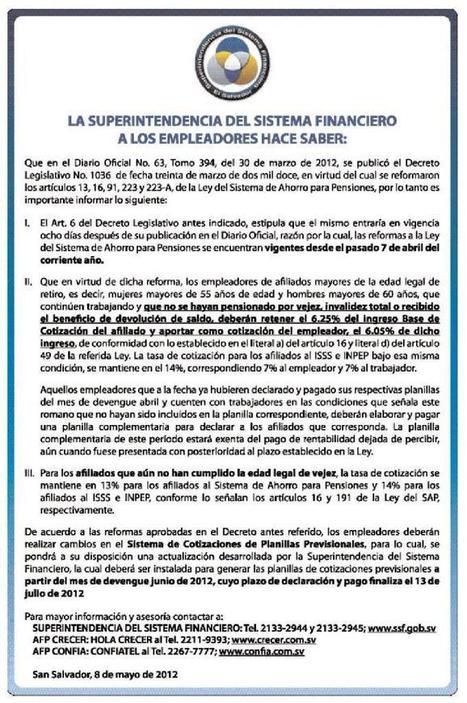 Reformas del sistema de pensiones mediante decreto 1036   El Salvador - Economía (deuda pública y pensiones)   Scoop.it