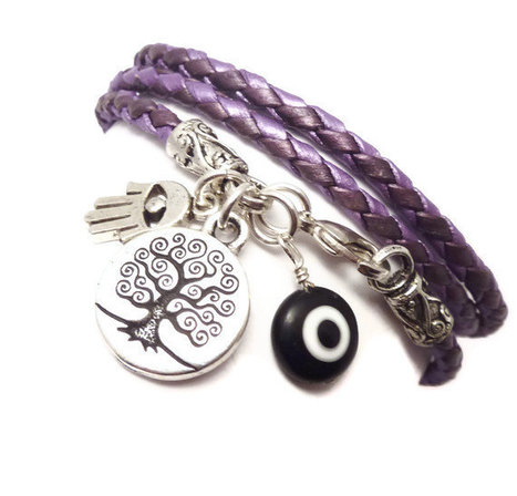 Purple Braided Leather Wrap Bracelet with Protection Charms,yoga jewelry,wrapped, wrapping, wrap around,wrist wrap | Inspirational and more | Scoop.it