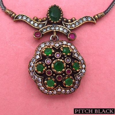 15.00 Grams Green Onyx & White Cubic Zircon Silver & Copper Black Rhodium Plated Turkish Necklace   Online Jewellery Shopping in India   Scoop.it