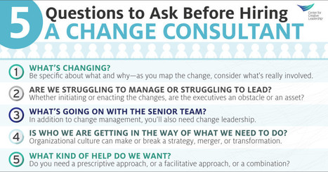 5 Questions to Ask Before You Hire a Change Consultant - Center for Creative Leadership | Change Leadership - Theory & Practice | Scoop.it