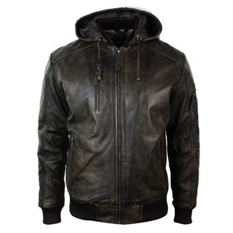 Mens Brown Washed Distressed Removable Hood Bomber Leather Jacket Quilted | Mens clothing | Scoop.it