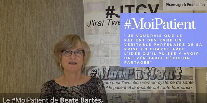 """""""#MoiPatient, je voudrais que le patient devienne un véritable partenaire de sa prise en charge avec l'idée qu'il puisse y avoir une véritable décision partagée"""", Beate Bartès, Présidente de l'ass...   PATIENT EMPOWERMENT & E-PATIENT   Scoop.it"""