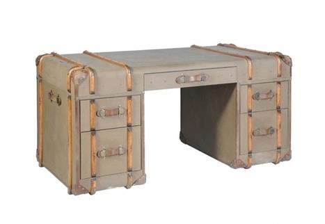 Globetrekker Desk - Vintage Beige Canvas   Timothy Oulton   3D Product Design   Scoop.it