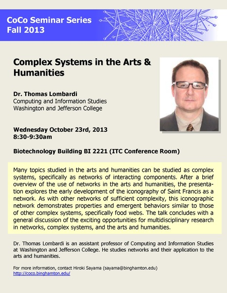 CoCo seminar by guest speaker: Dr. Thomas Lombardi on Wed. Oct. 23rd | Center for Collective Dynamics of Complex Systems (CoCo) | Scoop.it