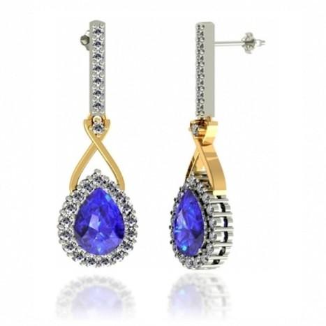 Tanzanite Earring – Buy 8x6MM size Tanzanite Earring in Pear Tanzanite with Round Diamond in 14K White Gold   Tanzanite Earrings White Gold   Scoop.it