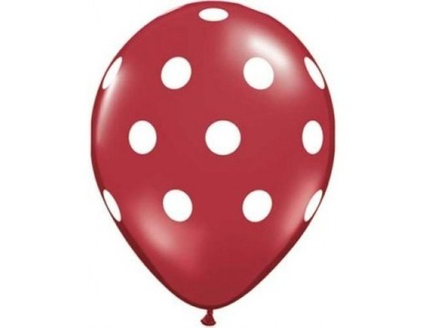 Polka Dots Latex Balloons (Red) - Pack of 5 - 18"