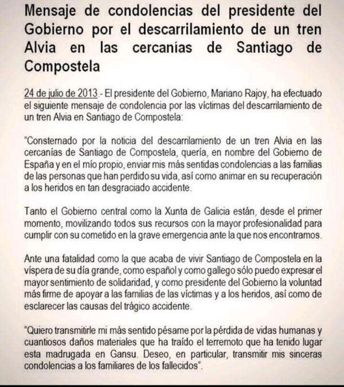 Twitter / Jorge_Tfe: Penoso el mensaje de condolencia ...   Partido Popular, una visión crítica   Scoop.it