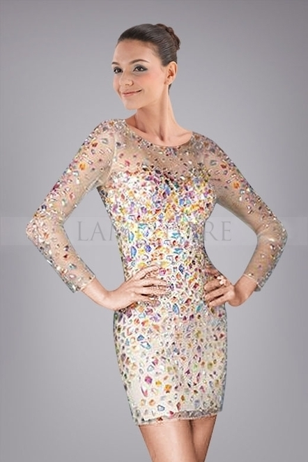 Fashionable Cocktail Dress with Illusion Long Sleeves Colorful Crystals : Lamistore.com | Lamistore Fashion Prom Dresses | Scoop.it