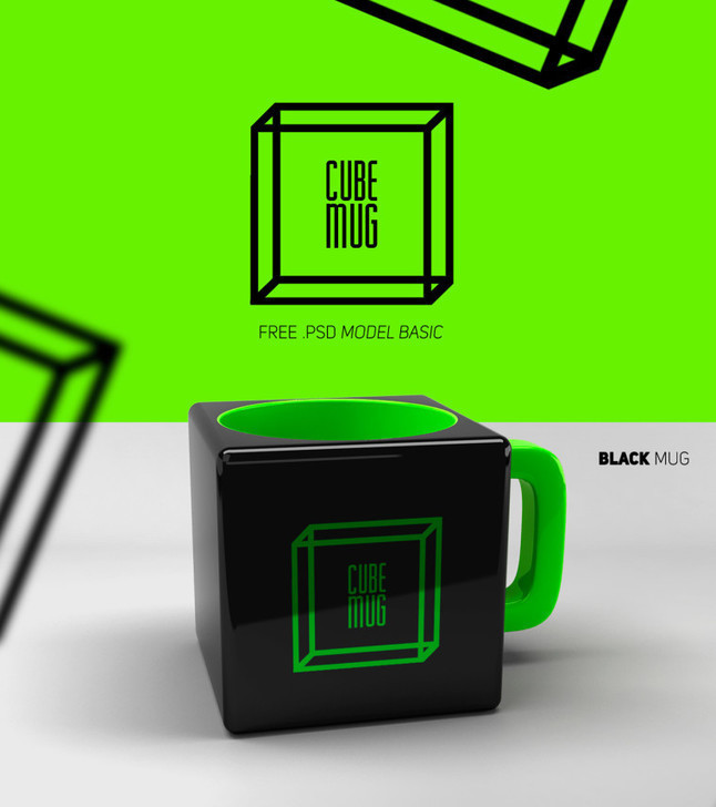 Cube Mug Mockup Freebie | Best PSD Freebies