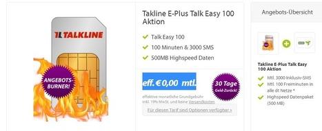 Der Hammer Talk Easy Tarif komplett kostenlos. 100min, 3000SMS, 500MB | Koelner-PC-Hilfe | Scoop.it