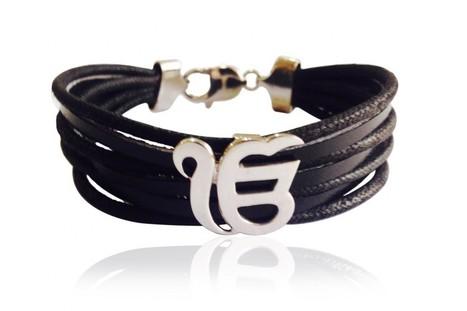 Buy Wide Leather Band Ik Onkar Bracelet | Diamond Jewellery India | Scoop.it