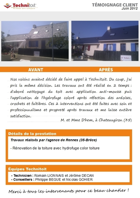 [témoignage] Rénovation de toiture en hydrofuge Technitoit colore sur ardoise à Chateaugiron (35) | Témoignages Clients Technitoit | Scoop.it