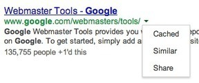 Google Adds Green Arrows To View Cache, Similar Pages & To Share Results On Google+ | GooglePlus Expertise | Scoop.it