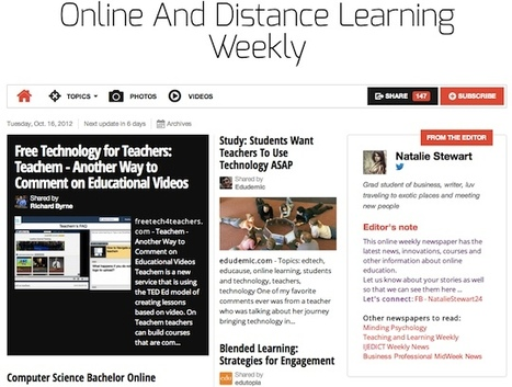 Oct 16 - Online And Distance Learning Weekly | Studying Teaching and Learning | Scoop.it