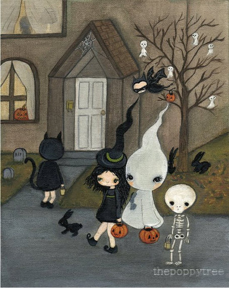 Halloween Print Witch Skeleton Ghost Bat Girl Wall Art---Trick Or Treating | Halloween | Scoop.it