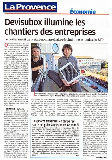 La Provence – 27 janvier 2014 - Devisubox illumine les chantiers des entreprises | Camera HD de suivi de chantier - Temps réel et Time lapse | Scoop.it