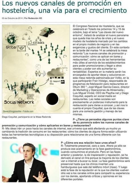 """Entrevista: """"Los nuevos canales de promoción en hostelería, una vía para el crecimiento""""   Diego Coquillat   Seo, Social Media Marketing   Scoop.it"""