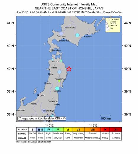 Magnitude 6.7 earthquake 524 km (325 miles) NNE of TOKYO, Japan | Japan Tsunami | Scoop.it