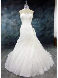 $ 223.99 Delicate Strapless A-Line Floor-length Wedding Dress   wedding  and event   Scoop.it
