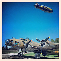 Boeing and the Blimp: Goodyear Blimp does a flyby of Nine-o-Nine at New Smyrna Beach today #aviation #avgeek #airplane_lovers #warbirds #warbird #wwii #worldwarii #aircraft #planeporn #b17g #b17fly... | WW2 Bomber - Nose Art | Scoop.it