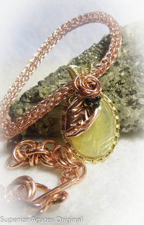 Rutilated Quartz Wire Wrapped Brass Copper Stone Viking Knit Necklace | Wire Wrapped Jewelry | Scoop.it