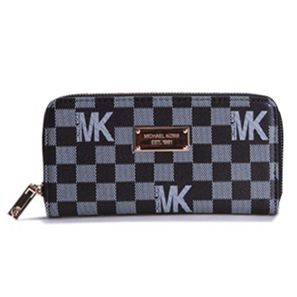 Cool Michael Kors Check Logo Continental Zip Around Large Black Wallets at Prettybagoutlet | Michael kors Wallets | Scoop.it